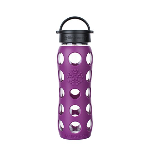 (Lifefactory 22-Ounce BPA-Free Glass Water Bottle with Classic Cap and Silicone Sleeve, Plum)