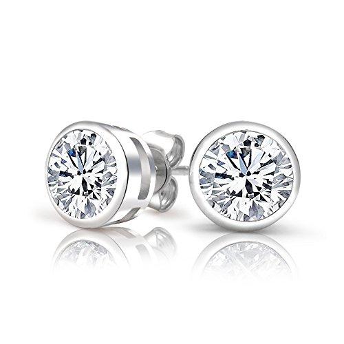 1.00 Carat Total Stunning 925 Sterling Silver Cubic Zirconia Earrings, Heavy Casted Bezel Set Round AAAAA Graded Stones