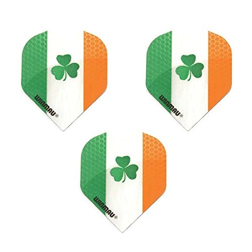 Winmau 3 Pack Ireland Fighting Irish Clover 75 Micron Strong Standard Dart Flights -