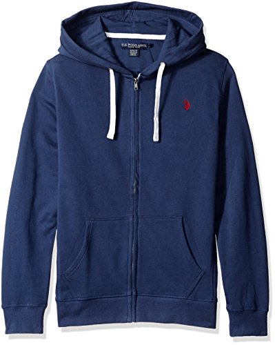 U.S. Polo Assn. Men's Slim Fit Solid French Terry Hooded Jacket, Mood Indigo, Medium (Terry Embroidered Jacket)