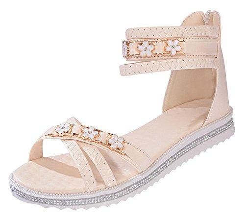 Cremallera en la parte posterior plana inferior zapatos romanos mujeres estudiante Casual las mujeres sandalias, beige beige