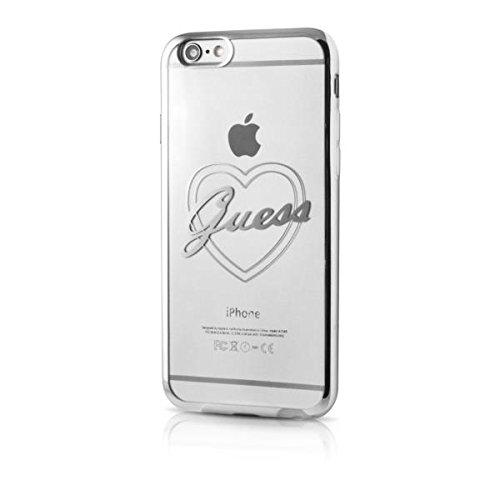 Guess Signature Heart Etui en TPU pour iPhone 6/6S Argent