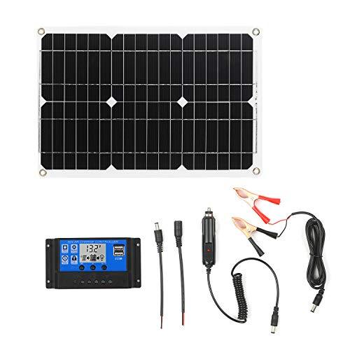 KKmoon 18W 12V Solarpanel Kit Monokristallines Off Grid Modul mit SAE Verbindungskabel Kits für Solarladeregler (Dualer USB Anschluss)