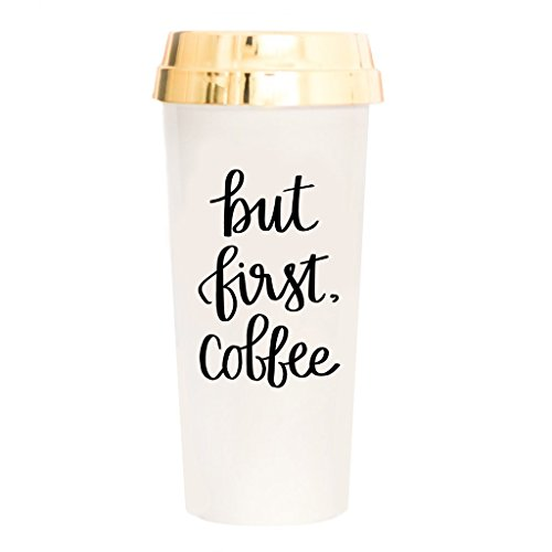 But First Coffee Travel Mug Coffee Lover Gift Plastic Travel Mug with Gold Lid Gift For Her Accessories for Women 16oz
