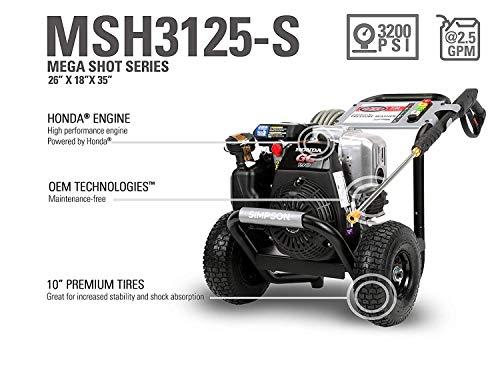 3125 MegaShot Gas Pressure Washer Powered by Honda GC190, 3200 PSI at 2.5 GPM ()