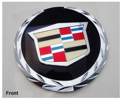 (GM FACTORY CADILLAC ESCALADE 07 THRU 13 FRONT WREATH AND CREST EMBLEM WITH PLATE)