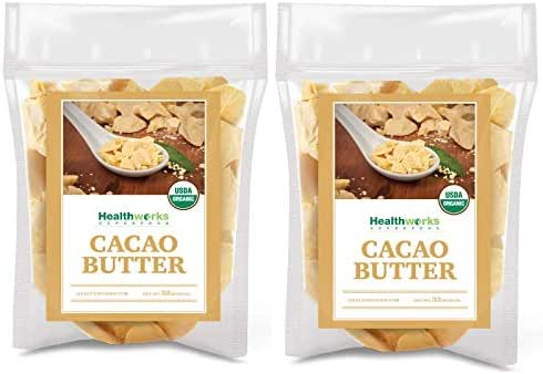 Healthworks Cacao Butter (64 Ounces / 4 Pound) (2 x 2 Pound Bags) Organic | Unrefined Non-Deodorized Cocoa | Certified Organic from Peru | Sugar-Free, Keto, Vegan & Non-GMO | Antioxidant Superfood
