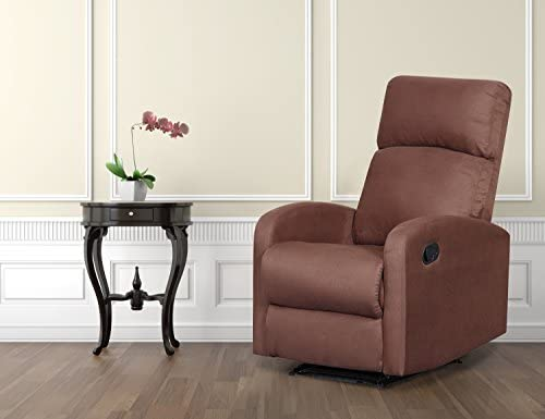 Artiva USA Modern Home Slim Design Microfiber Brown Recliner,