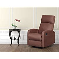 Artiva USA Modern Home Slim Design Microfiber Brown Recliner