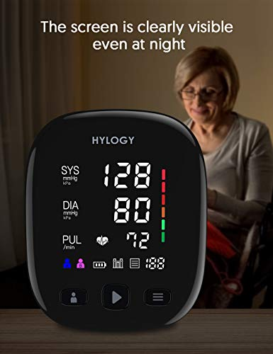 Upper Arm Blood Pressure Monitor,HYLOGY Digital Automatic Blood Pressure Monitor, Large Led Screen, 2x90 Memory and Large Cuff