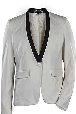 Ocode Off White Mixed Basic Jacket For Women