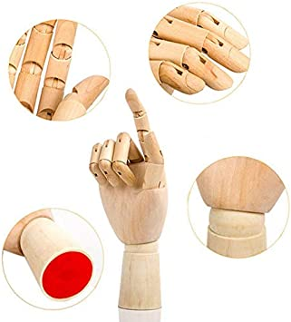GuguLove 7 Quot 10 12 Inch Wooden Flexible Fingers Right Hand Wood Artist Drawing Manikin Articulated Wood Crafts Wood Crafts Mannequin Flexible Male Dummy Hand Model Wooden Man