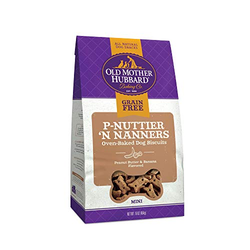 Old Mother Hubbard P-Nuttier 'N Nanners Grain Free Oven Baked Mini Dog Treats, Banana & Peanut Butter, 16-Ounce Bag (For Dogs Treats Banana)
