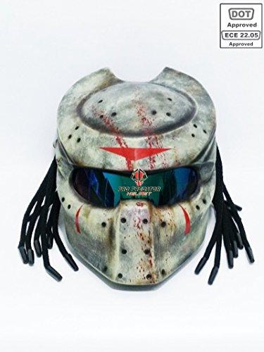 Custom Predator Motorcycle DOT ECE Approved Helmet Jason Friday 13th SY22 (XL)