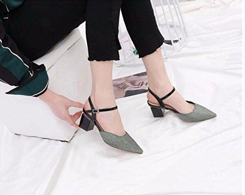GTVERNH-Mit Dem Schlitz Fett Mit Schuhe Frauen Neue Sexy Leuchtender Seide Schlitz Dem Sandalen Wild Hohl Flacher Tipp Einzelne Schuhe green 90d1cf
