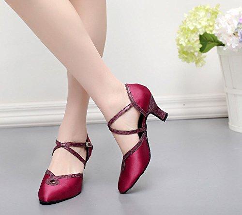 Salón Baile De De Zapato Zapatos Morado WYMNAME Mujeres De De De Baile Unión Punta Satén Baile Latino Zapatos Seda SEznTqvn0