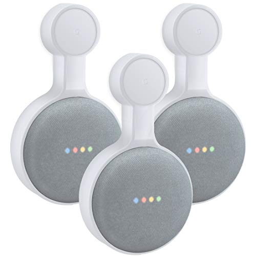 Outlet Wall Mount Holder for Google Home Mini, A Space-Saving Accessories for Google Home Mini Voice Assistant (White 3-Pack)
