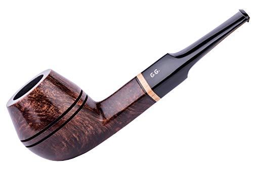Dr. Watson & G.G. Briar Tobacco Smoking Pipe Set - Bulldog - Hand Made (Metal Cooling Filter) (D.Brown)