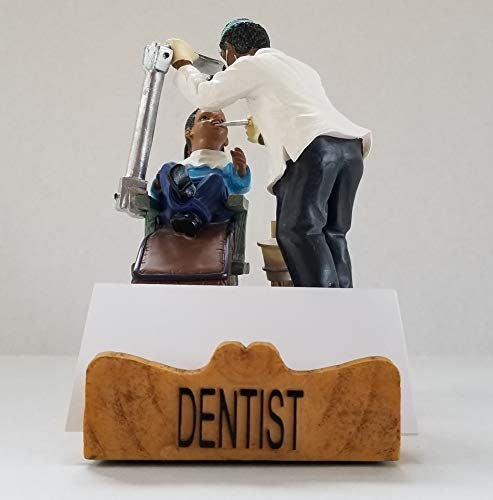 Dentist Business Cardholder Figurine. Gift and Collectible - African American Male. by RoCo2 Enterprises