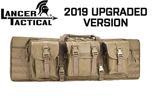 - Lancer Tactical Rifle Case Solid Fabric Reinforced Stitch Thickened Foam Double Long Rifle Bag Tactical Gun Case Perfect for Hunting and Shooting (Coyote Brown, 36