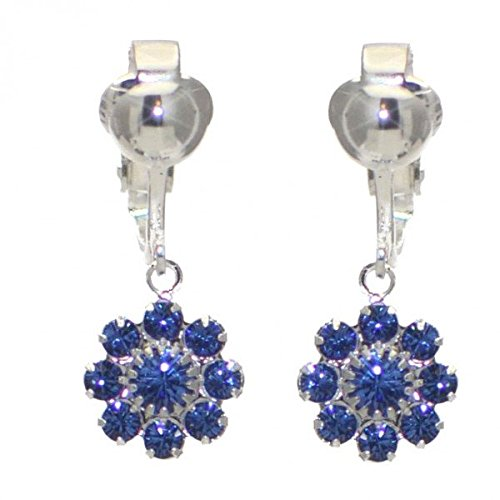 ROSINA Silver Plated Sapphire Crystal Flower Clip On Earrings AJ Fashion Jewellery AJFJ9124
