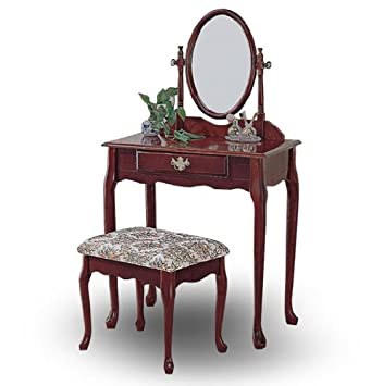 Cherry Wood Queen Anne Vanity With Table U0026 Bench Set