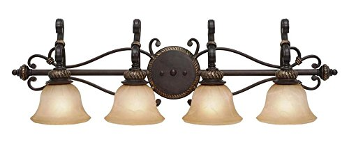 Etruscan Bronze Four Light Bathroom Fixture from the Jefferson (Etruscan Collection)