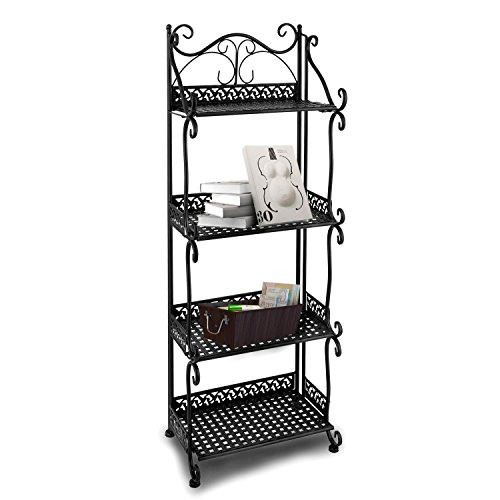 Dtemple Metal 4-tier Free Standing Bakers Rack Dining, Laundry Room Bookcase Bookshelf Planter Stand Garage Organizer