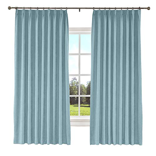 TWOPAGES 52 W x 96 L inch Pinch Pleat Blackout Curtain for Bedroom Polyester Cotton Blend Room Darkening Blackout Curtains with Liner, (1 Panel, Blue Gray)