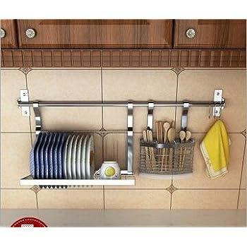 Wall Mounted Kitchen Cookware Organizer Stainless Steel (31 Inch Bar +  Flatware Utensils Caddy