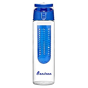 Blue 23 oz Newest Design Tritan Fruit Infuser Water Bottle, Sports Bottle, School Bottle, Leak Proof, Folded Handle, for Fruit, Juice, Iced Tea, Lemonade & Sparkling Beverages - with 2 Gifts