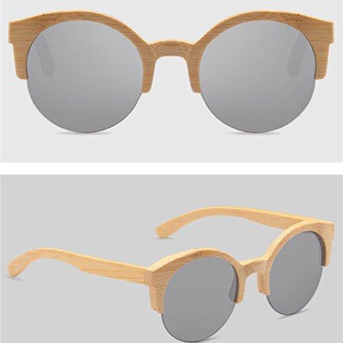 Gafas ANLW Bambú Redondas Retro Caja Sol Mujer Madera De UV400 Gafas De De De Gafas Madera Unisex Gafas De Madera Polarizadas Silvertablets Medias con De rq0Pr4