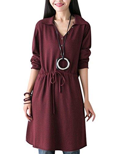 V-Neck Drawstring Knit Dress - 6