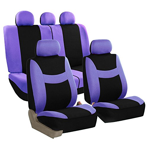 FH GROUP FH-FB030115-SEAT Light & Breezy Purple/Black Cloth Seat Cover Set Airbag & Split Ready- Fit Most Car, Truck, Suv, or Van (Chevy Equinox Car Seat Covers)