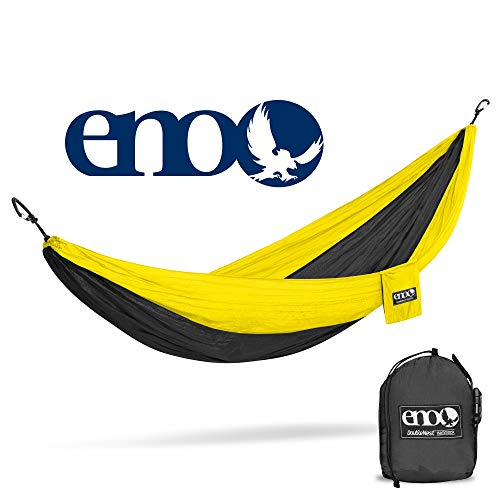 Eagles Nest Outfitters ENO DoubleNest Hammock, Portable Hammock for Two, Black/Yellow (FFP)