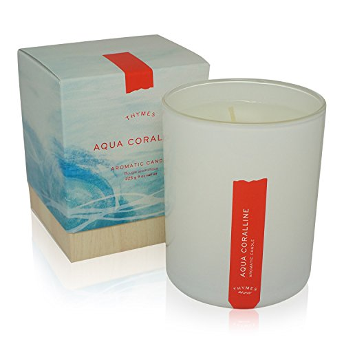 Aqua Candle - Thymes - Aqua Coralline Aromatic Scented Candle - Long Lasting Relaxing Beach Scent with Gift Box - 9 oz