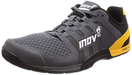 Inov-8 Mens F-Lite 235 V2 - Lightweight Minimalist Cross Training Shoes - Zero Drop - Athletic Shoe for Gym, Training and Weight Lifting - Wide Toe Box - Grey/Yellow 8 M US (Best Training Shoes For Squats)