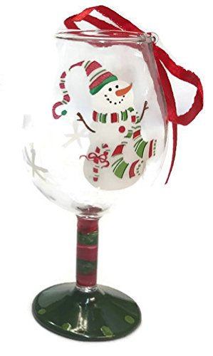 (Hand Painted Cocktail Glass Ornament 4 inch (Snowman, Wine))