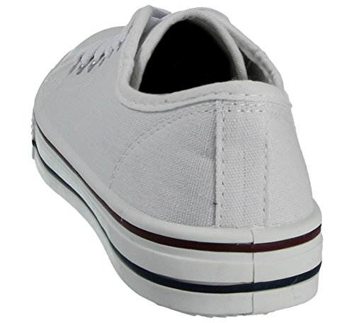 All Low 13 8 cordones Toe informales Damas Star Blanco Top Tamaño con Canvas Zapatillas Baltimore Academy Bombas Zapatillas Cap Hi Plimsoll UvxwqHOE