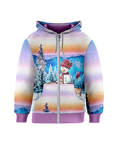 PattyCandy Light Blue Snowman With Christmas Trees Kids Zipper Hoodies - (Child Christmas Tree Hooded Sweatshirt)