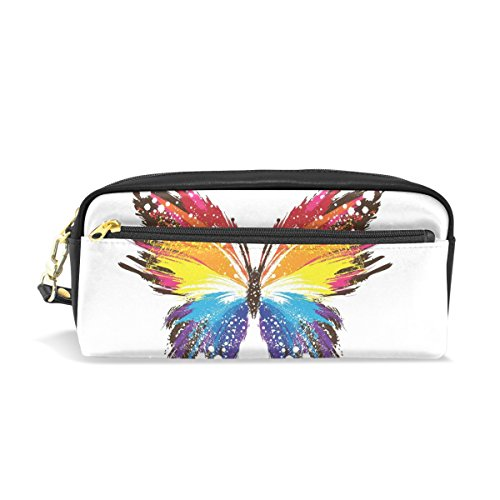Coosun Colorful Abstract Butterfly Patterns Portable Pu Leather Pencil Case Pen Bag School Bags Set Box Large Capacity Makeup Bag Big Cosmetic Mu