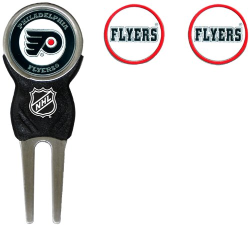 Team Golf NHL Philadelphia Flyers Divot Tool with 3 Golf Ball Markers Pack, Markers are Removable Magnetic Double-Sided Enamel