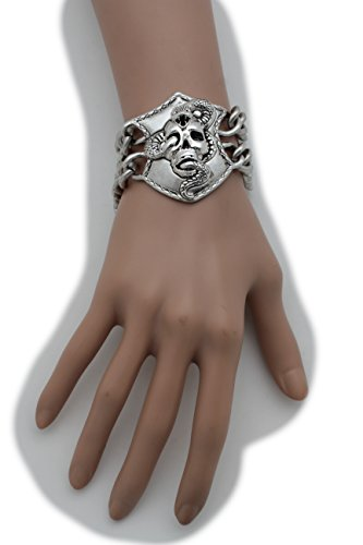 Pop Stars Halloween Costumes 2016 (TFJ Women Bangle Bracelet Biker Punk Fashion Jewelry Metal Chain Links Silver Skeleton Skull Snake Pirate)
