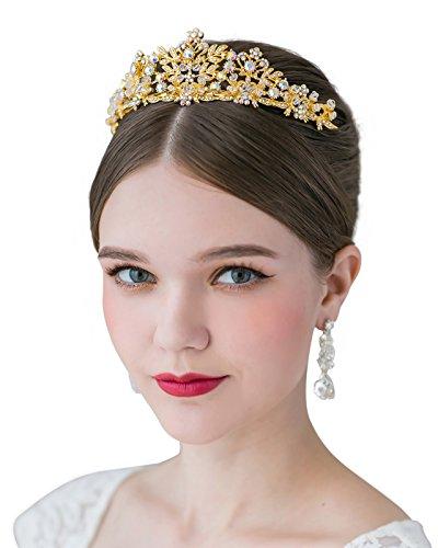 SWEETV Fairytale Rhinestone Princess Crown Wedding Tiara Party Hats Pageant Hair Jewelry, Gold+Multi
