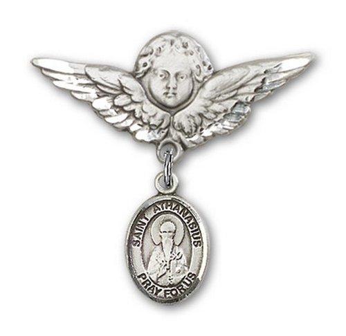 Icecarats Créatrice De Bijoux En Argent Sterling St. Athanase Charme Ange Broche De Badge 1 1/8 X 1 1/8