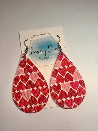 Valentines Day Earrings/Leather Earrings // Heart Earrings