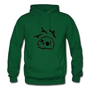 Custom Skull_bird_death Green Women 100% Cotton Hoody Fitted Funny X-large