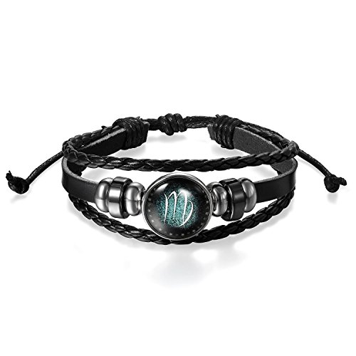 Young & Forever Men's Constellation Zodiac Luck Handmade Black Leather Bracelet Virgo by Young & Forever