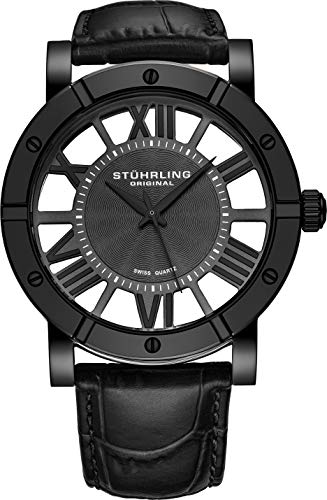 Stuhrling Original Winchester Mens Black Watch - Swiss Quartz Analog Date Wrist Watch for Men - Black IP Stainless Steel Mens Designer Watch with Black Genuine Leather Strap ()