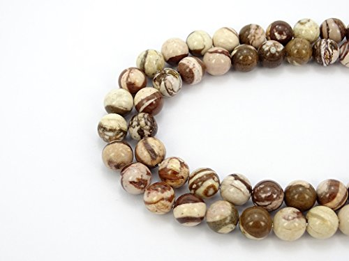 jennysun2010 Natural Australia Brown Zebra Jasper Gemstone 4mm Smooth Round Loose 90pcs Beads 1 Strand for Bracelet Necklace Earrings Jewelry Making Crafts Design Healing